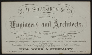 Trade card for N.B. Schubarth & Co., engineers and architects, 29 Weybosset Street, Providence, Rhode Island, undated