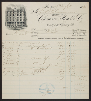 Billhead for Coleman, Mead & Co., awnings, 9, 11, 17 & 19 Chauncy St., Boston, Mass., dated September 1890