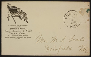 Envelope for Lamprell & Marble, flag, awning & tent makers, 357 Commercial Street, Boston, Mass., undated