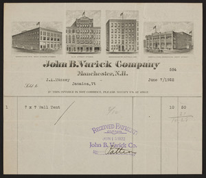 Billhead for John B. Varick Company, tents, Manchester, New Hampshire, dated June 7, 1922