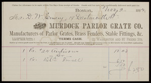 Billhead for Murdock Parlor Grate Co., grates, 21 Washington and 87 Friend Sts., Boston, Mass., dated November 2, 1882