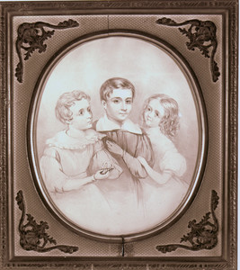 Group portrait of three children, Josiah Quincy House, Wollaston, Mass., undated