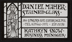 Business card for Daniel Maher Stained Glass, 266 Concord Ave., Cambridge, Mass., undated