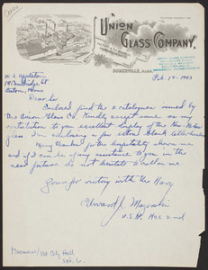 Letterhead for the Union Glass Company, Somerville, Mass., dated February 19, 1943