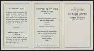 Reproductions of pencil sketches by Kenneth Conant, Foster Brothers, 4 Park Square, Boston, Mass., 192?