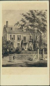 Carte-de-visite illustration of the Hancock House, ca. 1862