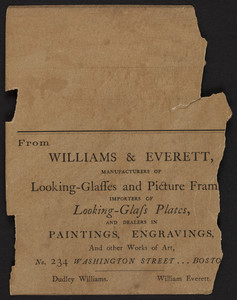 Advertisement for Williams & Everett, looking glasses and picture frames, No. 234 Washington Street, Boston, Mass., undated