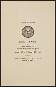 Exhibition of works, Members of the Boston Society of Sculptors, Museum of Fine Arts, January 29 to February 22, 1925