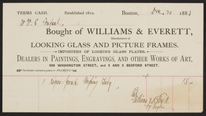 Billhead for Williams & Everett, looking glass and picture frames, 508 Washington Street, 3 and 5 Bedford Street, Boston, Mass., dated December 20, 1883