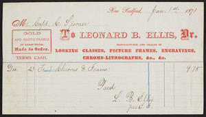 Billhead for Leonard B. Ellis, Dr., looking glasses, picture frames, New Bedford, Mass., dated January 1, 1871