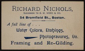 Business card for Richard Nichols, artist, 54 Bromfield Street, Boston, Mass., undated