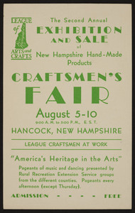 Trade card for Craftsmen's Fair, League of New Hampshire Arts and Crafts, Hancock, New Hampshire, August 5-10, 193?