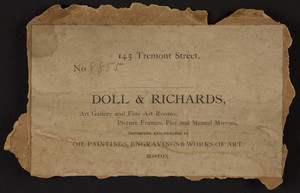 Label for Doll & Richards, art dealers, 145 Tremont Street, Boston, Mass., undated
