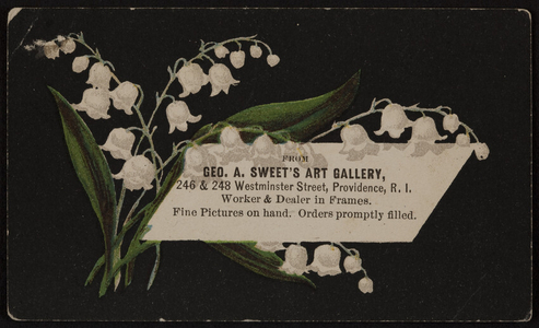 Trade card for Geo. A. Sweet's Art Gallery, 246 & 248 Westminister Street, Providence, Rhode Island, undated