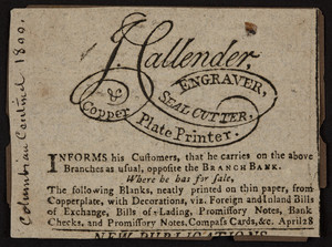 Advertisement for J. Callender, engraver, location unknown, April 28, 1800