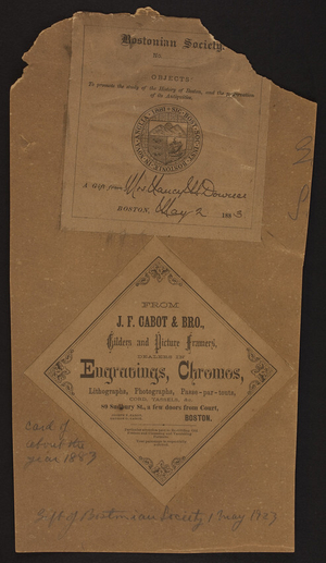 Label for J.F. Cabot & Brother, gilders and picture framers, 89 Sudbury Street, Boston, Mass., ca. 1883