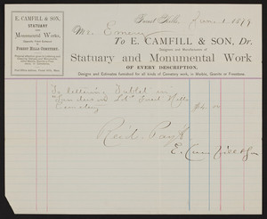 Billhead for E. Camfill & Son, Dr., statuary and monumental work, Forest Hills, Mass., January 1, 1879