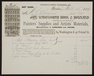 Billhead for Wadsworth Bros. & Howland, painters' supplies and artists' materials, 84 Washington & 46 Friend Streets, Boston, Mass., September 25, 1882