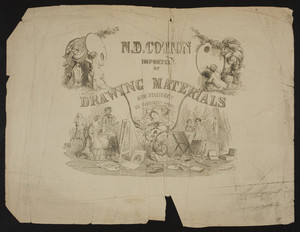 Advertisement for N.D. Cotton, drawing materials and stationery, 272 Washington Street, Boston, Mass., undated