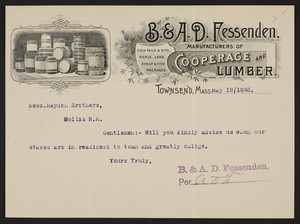 Letterhead for B.& A.D. Fessenden, cooperage and lumber,Townsend, Mass., dated May 19, 1893