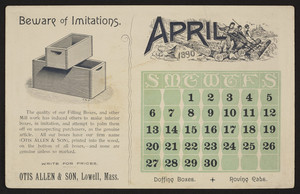 Trade card for Otis Allen & Son, filling boxes, Lowell, Mass., April 1890