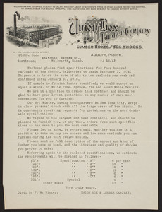 Letterhead for Union Box and Lumber Company, lumber boxes and box shooks, 98-104 Washington Street, Auburn, Maine, dated September 18, 1913