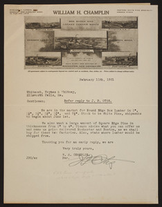 Letterhead for William H. Champlin, box shook and locked corner boxes, Rochester, New Hampshire, dated February 11, 1921