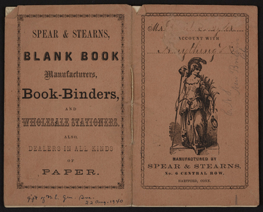 Spear & Stearns blank book manufacturers, book-binders and wholesale stationers, No.6 Central Row, Hartford, Conn., undated