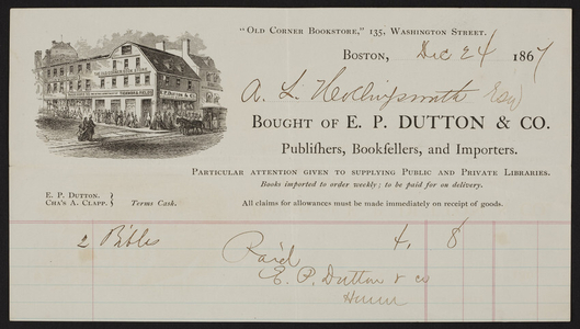 Billhead for E.P. Dutton & Co., publishers, booksellers and importers, 135 Washington Street, Boston, Mass., dated December 24, 1867