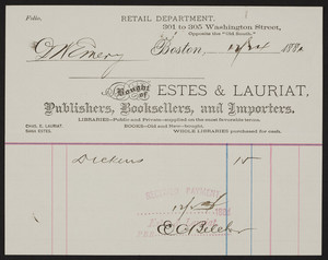 Billhead for Estes & Lauriat, publishers, booksellers, and importers, 301 to 305 Washington Street, Boston, Mass., dated December 24, 1881