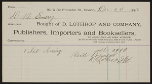 Billhead for D. Lothrop and Company, publishers, importers and booksellers, 30 & 32 Franklin St., Boson, Mass., dated December 24, 1883
