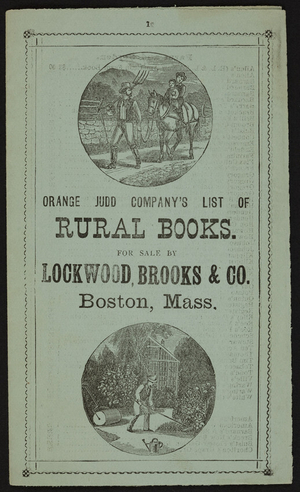 Orange Judd Company's list of rural books, 245 Broadway, New York, New York, ca. 1865
