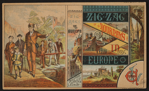 Trade card for Zig-zag journeys in Europe, Estes & Lauriat, Boston, Mass., undated