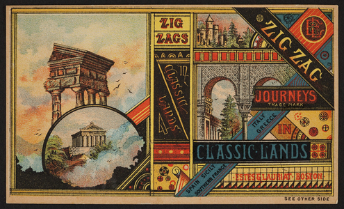 Trade card for Zig-zag journeys in classic lands, Estes & Lauriat, Boston, Mass., undated