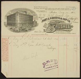 Billhead for John L. Whiting & Son Co., brushes, corner High & Purchase Streets, Boston, Mass., dated August 12, 1903