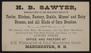 Trade card for H.B. Sawyer, brooms and brushes, Manchester, New Hampshire, undated