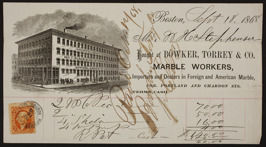 Billhead for Bowker, Torrey & Co., marble workers, corner Portland and Chardon Streets, Boston, Mass., dated September 18, 1868