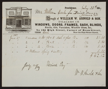 Billhead for William W. Arnold & Son, windows, doors, No. 131 High Street corner of Dean Street, Providence, Rhode Island, dated July 25, 1859