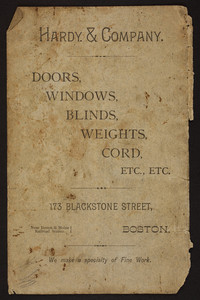 Advertisement for Hardy & Company, doors, windows, blinds, weights, cord, 173 Blackstone Street, Boston, Mass., undated