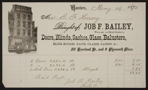 Billhead for Job F. Bailey, building supplies, 20 Kneeland Street and 8 Plymouth Place, Boston, Mass., dated May 24, 1873