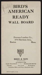 Bird's American Ready Wall Board, Bird & Son, East Walpole, Mass., undated