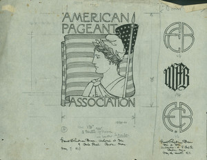 American Pageant Association logo and three monograms, May 7, 1913