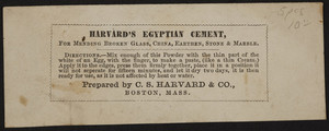 Advertisement for C.S. Harvard & Co., Harvard's Egyptian Cement, Boston, Mass., undated