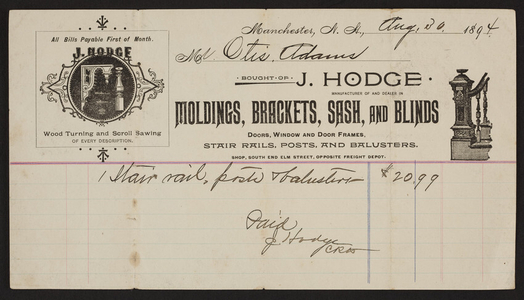 Billhead for J. Hodge, moldings, brackets, sash, and blinds, Elm Street, Manchester, New Hampshire, dated August 30, 1894