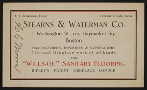 Trade card for Stearns & Waterman Co., tiles, 1 Washington Street, corner Haymarket Square, Boston, Mass., undated