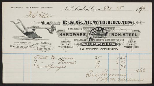 Billhead for P. & G.M. Williams, hardware, tools, iron, steel, 13 State Street, 13 State Street, New London, Connecticut, dated February 15, 1890