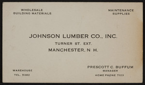 Business card for Johnson Lumber Co., Inc., Turner Street Extension, Manchester, New Hampshire, undated