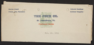 Letterhead forThe Peck Co., colonial roofings, builders' supplies, St. Johnsbury, Vermont, dated February 22, 1915