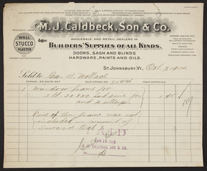 Billhead for M.J. Caldbeck, Son & Co., builders' supplies of all kinds, St.Johnsbury, Vermont, dated October 7, 1914