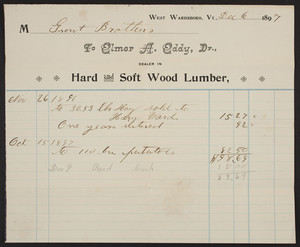 Billhead for Elmer A. Eddy, Dr., hard and soft wood lumber, West Wardsboro, Vermont, dated December 6, 1897